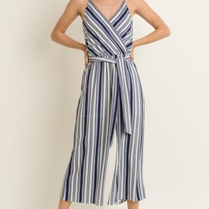 Pants - NWT NEW Navy Striped Jumpsuit with Tie Waist